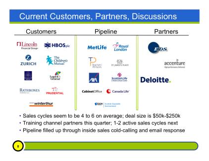 Customer, Pipeline and Partner Slide