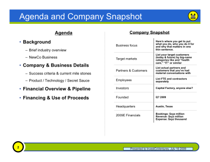 The Agenda & Company Overview Slide